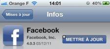 facebook mise a jour