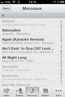 Musique iOS 6 Argenté
